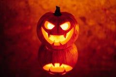 свет зарева тыквы Джек-o-фонарика, предпосылка хеллоуина Стоковые Фотографии RF