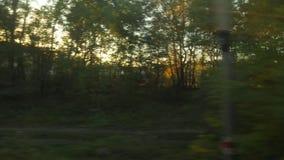 Свет захода солнца поездки на поезде сток-видео