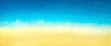 Свет знамени сети - синь для того чтобы греть желтый абстрактный градиент моря и пляжа покрашенный в акварели на чистой белой пре Стоковое фото RF