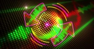 Свет и стрелки диско закрепляют петлей иллюстрация вектора
