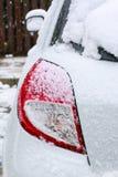Свет кабеля светлый задний под снегом Стоковое Изображение