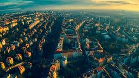 Свет лета вида с воздуха Праги стоковые фото