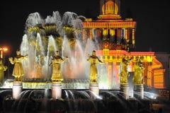 Свет Москва праздника вечера выставки фонтана Стоковое Изображение RF