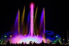 Свет-музыкальное представление фонтана Стоковая Фотография