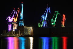 Свет ночи гавани пул, Хорватия стоковые фотографии rf