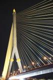 Свет ночи моста веревочки Стоковое Фото