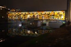 Светлое представление на Ponte Vecchio Стоковая Фотография RF