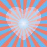 Светлое сердце нерезкости на предпосылке sunburst Стоковые Изображения