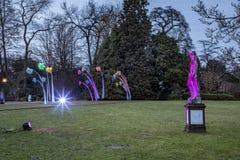 Светлое событие Winterlichter к ноча в Palmgarden в Frankfu Стоковые Изображения RF