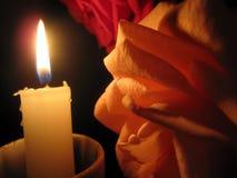 Светлооранжевое предложение розовое и свеча Стоковое Изображение
