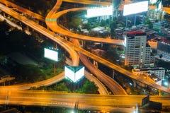Свет долгой выдержки пересечения шоссе Стоковые Изображения