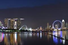 Свет песков залива города и Марины Сингапура на ноче Стоковое Изображение