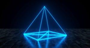 Свет пирамиды геометрической футуристической научной фантастики неоновый примитивный на темноте иллюстрация штока