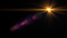 Свет пирофакела объектива над черной предпосылкой Легкий для того чтобы добавить верхний слой Стоковое Изображение