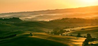 Свет раннего утра в области Тосканы Италии Стоковое Изображение