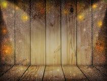 Свет рождества на деревянной предпосылке Винтажное украшение рождества Стоковые Фото