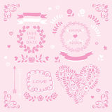 Свет - розовый комплект элемента дизайна приглашения свадьбы вектора Стоковые Изображения RF