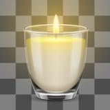 Свет свечи в стеклянном опарнике иллюстрация вектора реалистическая Стоковое Фото