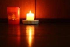 Свет свечи рождества в древообразном настроении Стоковая Фотография