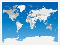 Свет - серая политическая карта мира на голубой предпосылке градиента также вектор иллюстрации притяжки corel Стоковое фото RF