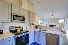 Свет - серый интерьер комнаты кухни с сводчатым потолком стоковое изображение rf