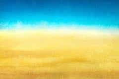 Свет - синь для того чтобы греть желтый абстрактный градиент моря и пляжа покрашенный в акварели на чистой белой предпосылке стоковое изображение rf