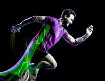 Свет человека идущего jogger бегуна jogging крася черную предпосылку стоковое фото rf