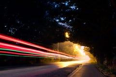 Свет через тоннель дерева ночи Стоковые Фотографии RF