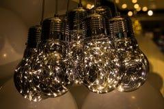 Светлые лампы на белом воздушном шаре Стоковое Изображение RF
