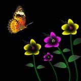 Светлые цветки и бабочка иллюстрация штока