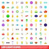 100 светлых установленных значков, стиль шаржа Стоковые Фото