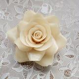 Свеча белой розы Стоковое Изображение RF