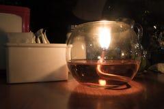Свеча в ресторане Стоковая Фотография
