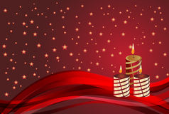 Свеча и звезда рождества на красной предпосылке иллюстрация штока