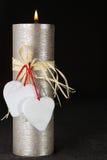 Свеча и сердца дня валентинки St Стоковое Изображение