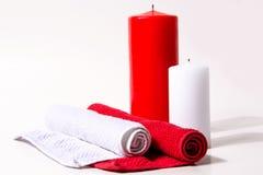 Свеча красного цвета и белизны Стоковые Фотографии RF