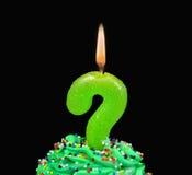 Свеча дня рождения вопросительного знака в замороженности Стоковое фото RF