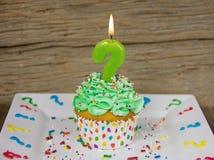 Свеча дня рождения вопросительного знака Стоковые Изображения