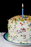 Свеча дня рождения на торте слоя Стоковое Изображение
