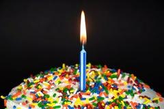 Свеча дня рождения на торте Стоковая Фотография RF