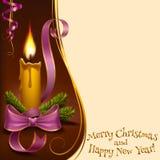 Свеча освещенная рождеством Стоковая Фотография