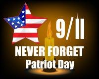 Свеча печали Башни Близнецы одиннадцатое -го сентябрь США 9 11 также вектор иллюстрации притяжки corel Стоковое Фото