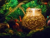 Свеча рождества в желтом цвете Стоковые Изображения RF