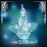 Свеча рождества в стиле Дзэн-doodle на предпосылке нерезкости в сини Стоковое Изображение RF