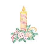 Свеча рождества, эскиз, doodle, иллюстрация вектора иллюстрация вектора