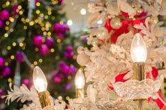 Свеча рождества электронная с рождественской елкой Стоковые Изображения RF