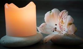 Свеча стоит на гравии около загоренного цветка Стоковые Изображения