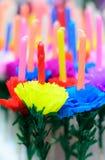 Свеча украшает с бумажным цветком, ремеслом Стоковые Фото