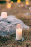 Свечи в стеклянных лампах Украшения свадьбы Wedding в Monteneg Стоковые Фото