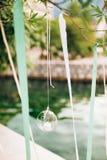Свечи в стеклянных лампах Украшения свадьбы Wedding в Monteneg Стоковые Фотографии RF